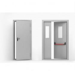 """01 Металлическая противопожарная дверь EI60, EI90, EIS60 c ручкой """"Антипаника"""" на одной створке"""
